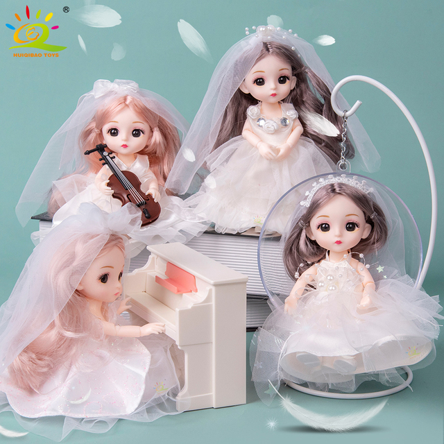 6pcs 5.9inch 13 Moveable Fashion bjd Boneca Dolls Joint body Ball Jointed Reborn Wedding Dress Make Up Dolls Toys Gift For Girls 2