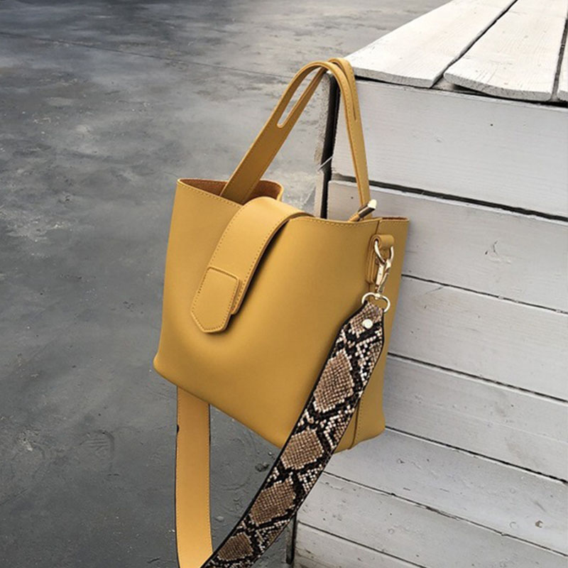 Female Leather Women Bag Fashion Women's Shoulder Handbags Solid Color Bucket Large Capacity Tote Casual Female Crossbody Bags