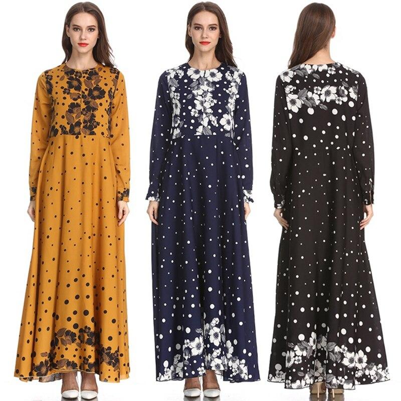 2019 femmes longue caftan dubaï Dot imprimer robe robe musulmane élégante dame arabe vêtements - 2