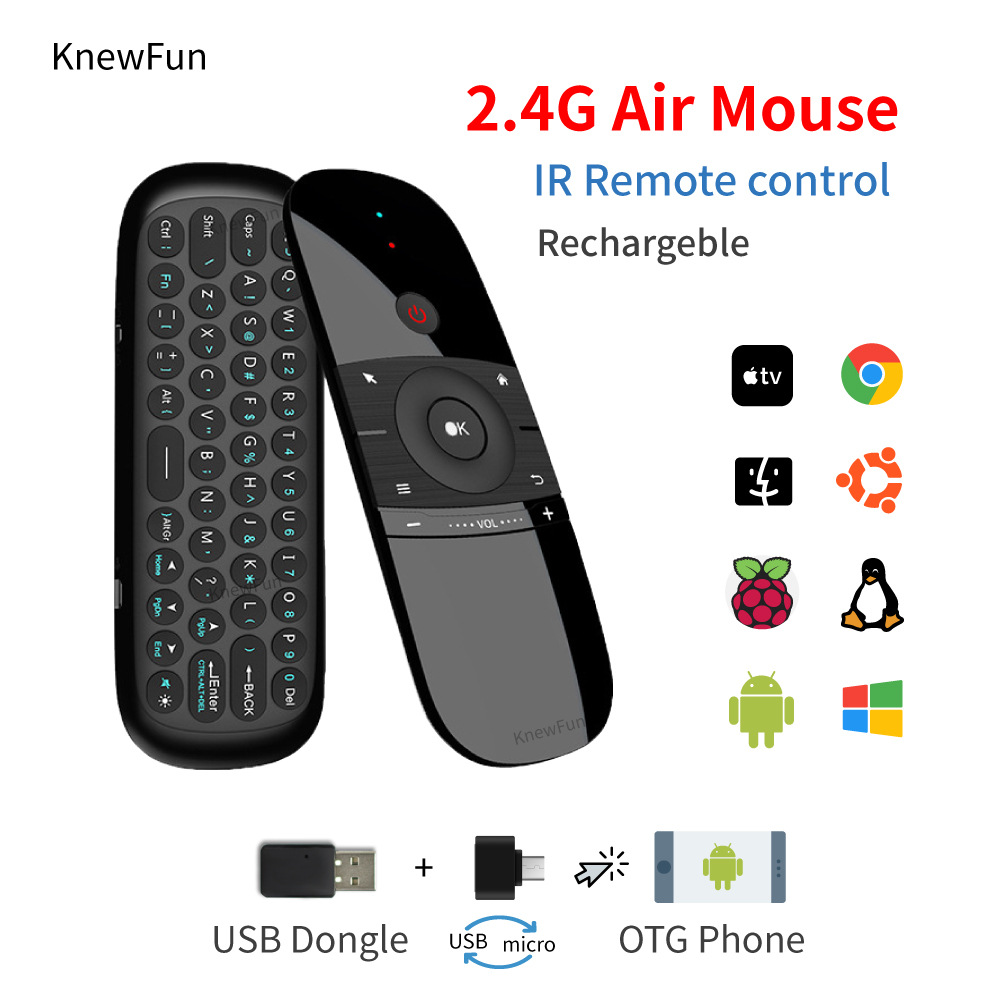 Wireless Fly Air Mouse Mini Keyboard Rechargeable Remote Control Android BOX Windows Mac Linux Programmable Smart Phone PC TV