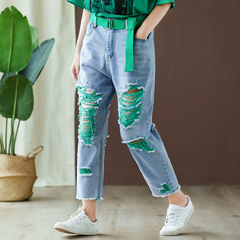 #4625 Summer Streetwear Denim Ripped Jeans For Women With Holes Loose Fashion Plus Size Jeans Femme Belt Beading Womans Jeans