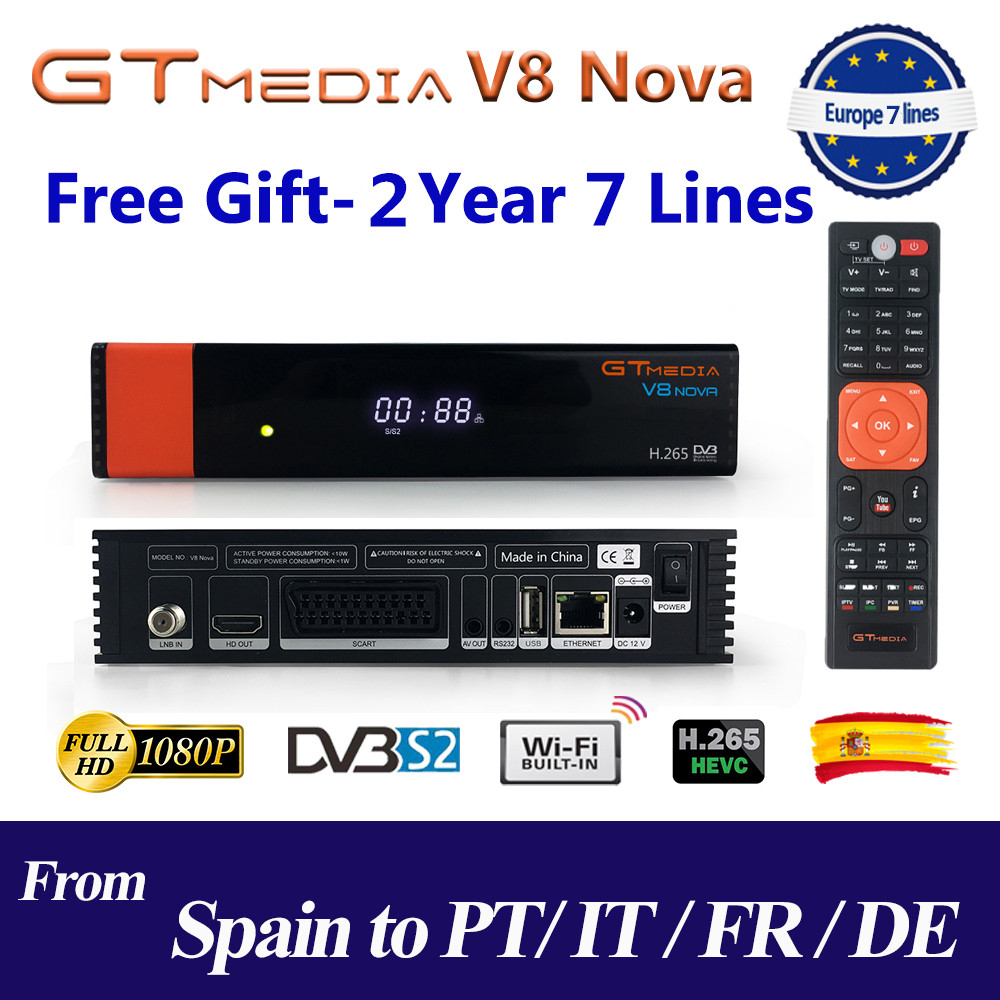 Receptor Satellite Receiver Gtmedia V8 nova HD 1080P with 2 Years Europe 7 lines Built in Wifi H.265 DVB S2 Box Spain tv-in Satellite TV Receiver from Consumer Electronics