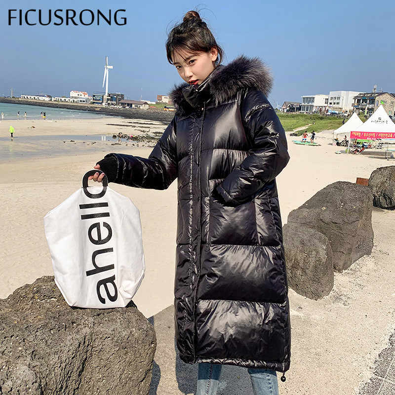 FICUSRONG Long Black White Color Elegant Womens Winter Jackets Coats Warm Fur Collar Hooded Ladies Coats Down Parkas