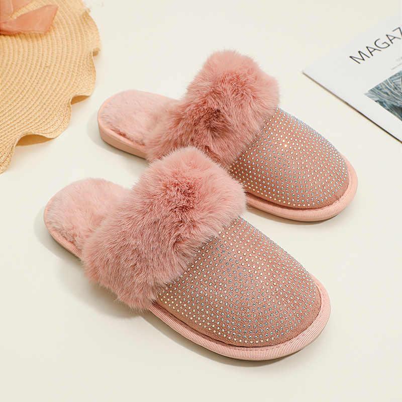 Women Fur Slippers Glitter Slides