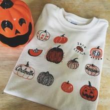 Hillbilly Fashion 100% Cotton Women T Shirt Pumpkin Graphic Halloween Print T-Shirt Short Sleeve Party Style Tops&tees