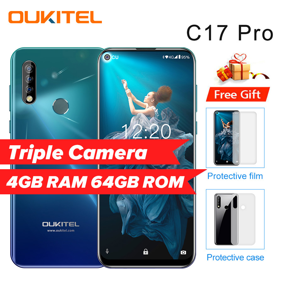 """OUKITEL C17 Pro 6.35""""19:9 Android 9.0 Mobile Phone MTK6763 Octa Core 4G RAM 64G ROM Dual 4G LTE Rear Triple Cameras Smartphone"""
