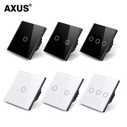 AXUS ЕС сенсорный выключатель Мощность Led Панель настенный светильник переключатель из каленого черный, белый цвет с украшением в виде криста...