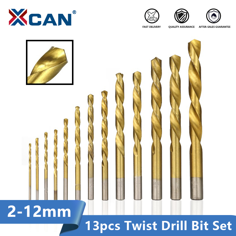 XCAN Twist Drill Bit 1.5-12mm HSS Titanium Coated Gun Drill Hole Cutter Wood Metal Drill Bit Set
