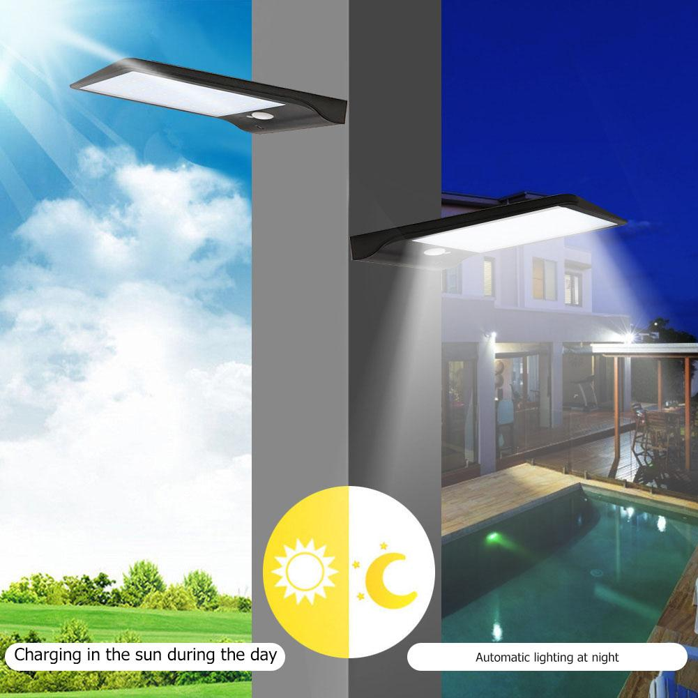 IP65 Waterproof Solar LED Wall Lamp Human Induction Sensor 3 Modes Outdoor Light High Conversion Low Power Consumption