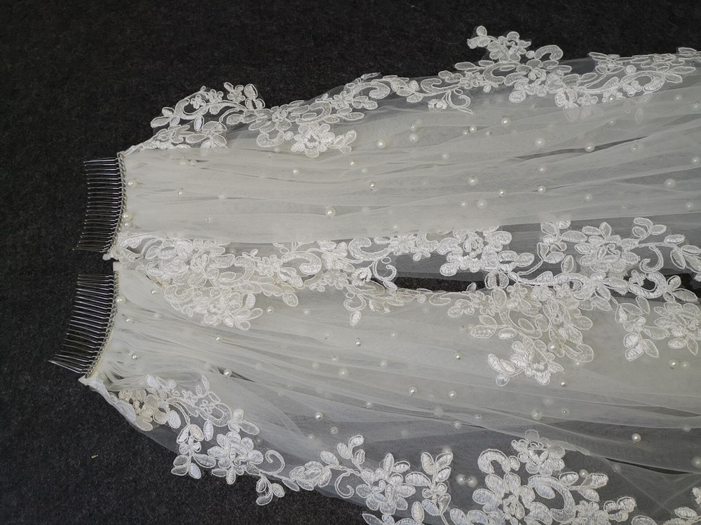 Real Photos 3 M Long White Ivory Wedding Veil Long Lace veil One Layer Cathedral Royal Pearl Bridal Veils Wedding Accessories