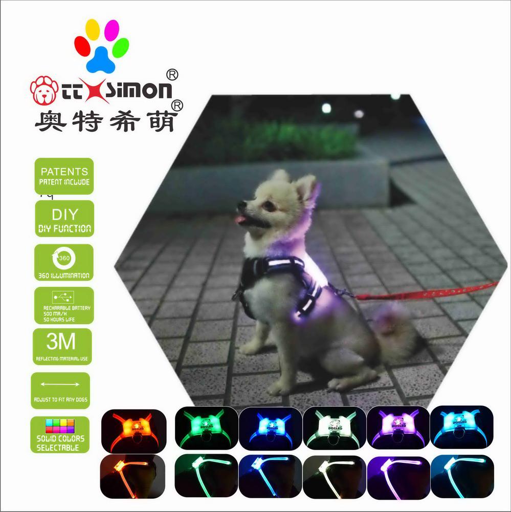 dog collar with led light dog led electric dog collar cc cimon harness 2021