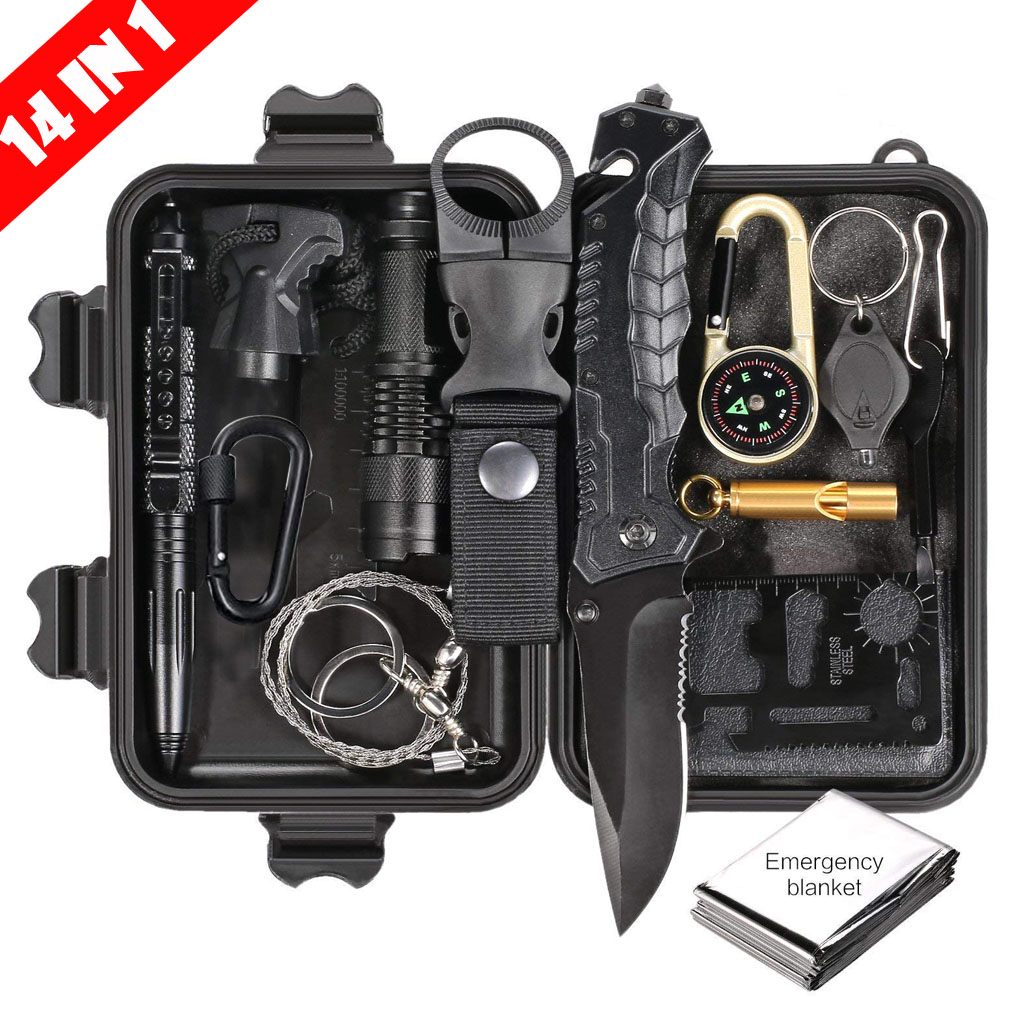 14-in-1 Emergency Survival Kit Outdoor Gear Tactical Survival Tool For Cars Gifts For Men Camping Hiking Hunting Accessories