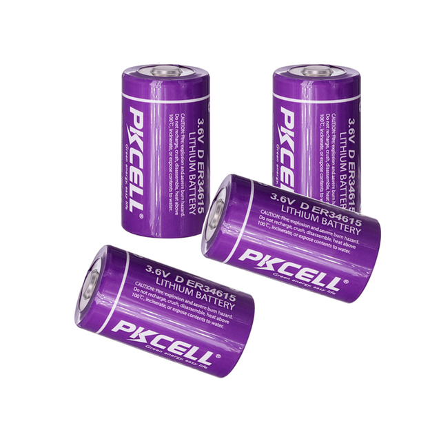 4Pcs PKCELL 19ah ER34615 34615 3,6 V Größe 34,2X61,5mm 19000MAH Nicht wiederaufladbare D LiSOCl2 batterien lithium batteriesfor 10 jahre