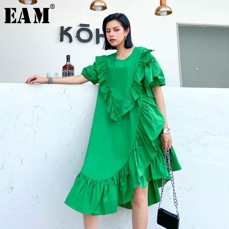 [EAM] Women Green Pleated Ruffles Irregular Dress New Round Neck Short Sleeve Loose Fit Fashion Tide Spring Summer 2020 1U202
