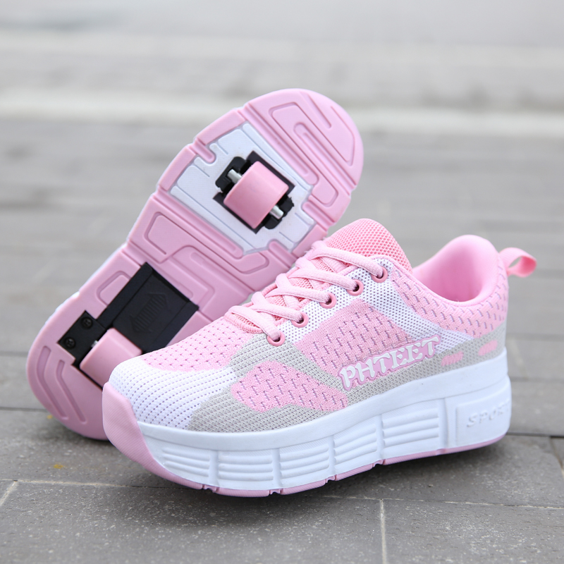 2021 Boys Girls Wheels Shoes Adult Casual boys Shoes NEW Children Junior Roller Skate Shoes Kids Sneaker With One Two baby shoes
