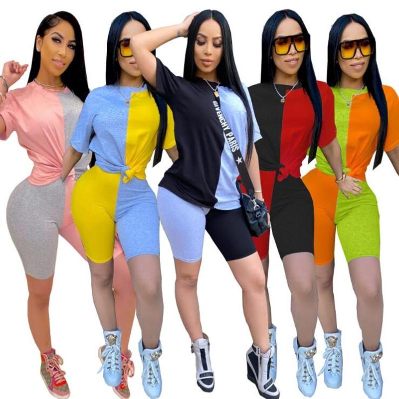 2020 женские комплекты летние костюмы в стиле пэчворк спортивная одежда топы + шорты, комплект из двух предметов Клубные вечерние уличные 2 пр...
