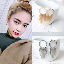 Fashion Vintage Metal Multilayer Long Tassel Earrings Women Statement Dangle