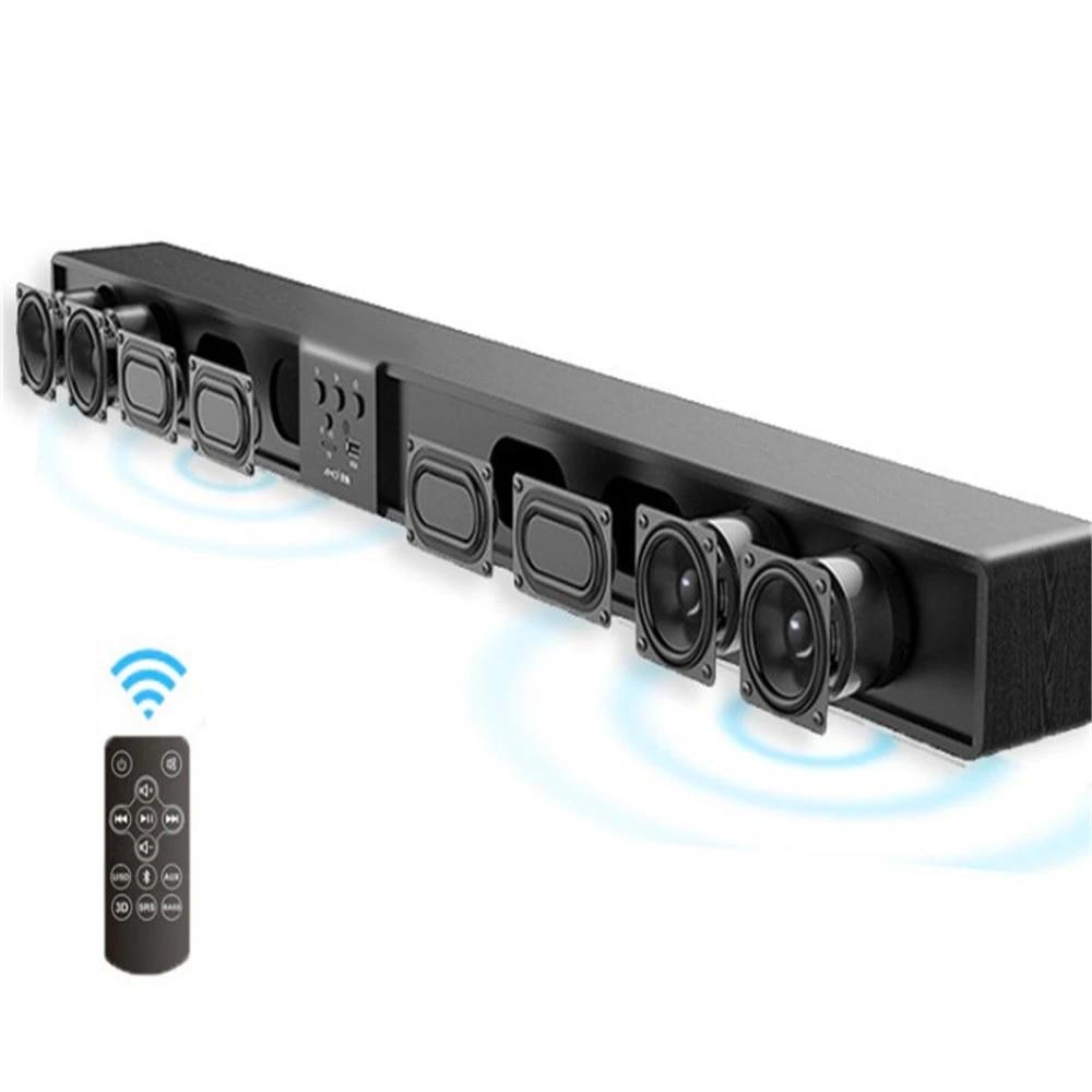 home cinema systeme audio colonne 5 1 haut parleurs sans fil cinema surround son barre de son en bois avec support a distance tf usb rca 60w