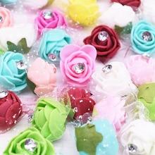 50/100pcs 2cm Artificial Flower PE Foam Rose Flower Heads Flowers Diamond Wedding Home Teddy Bears DIY Wreath  Decoration недорого