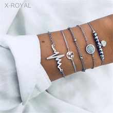 X-ROYAL 5Pcs/set Women Trendy Boho Black Beads Geometric Charm Bracelets Lovers Wedding Party Gift Female Fashion Set