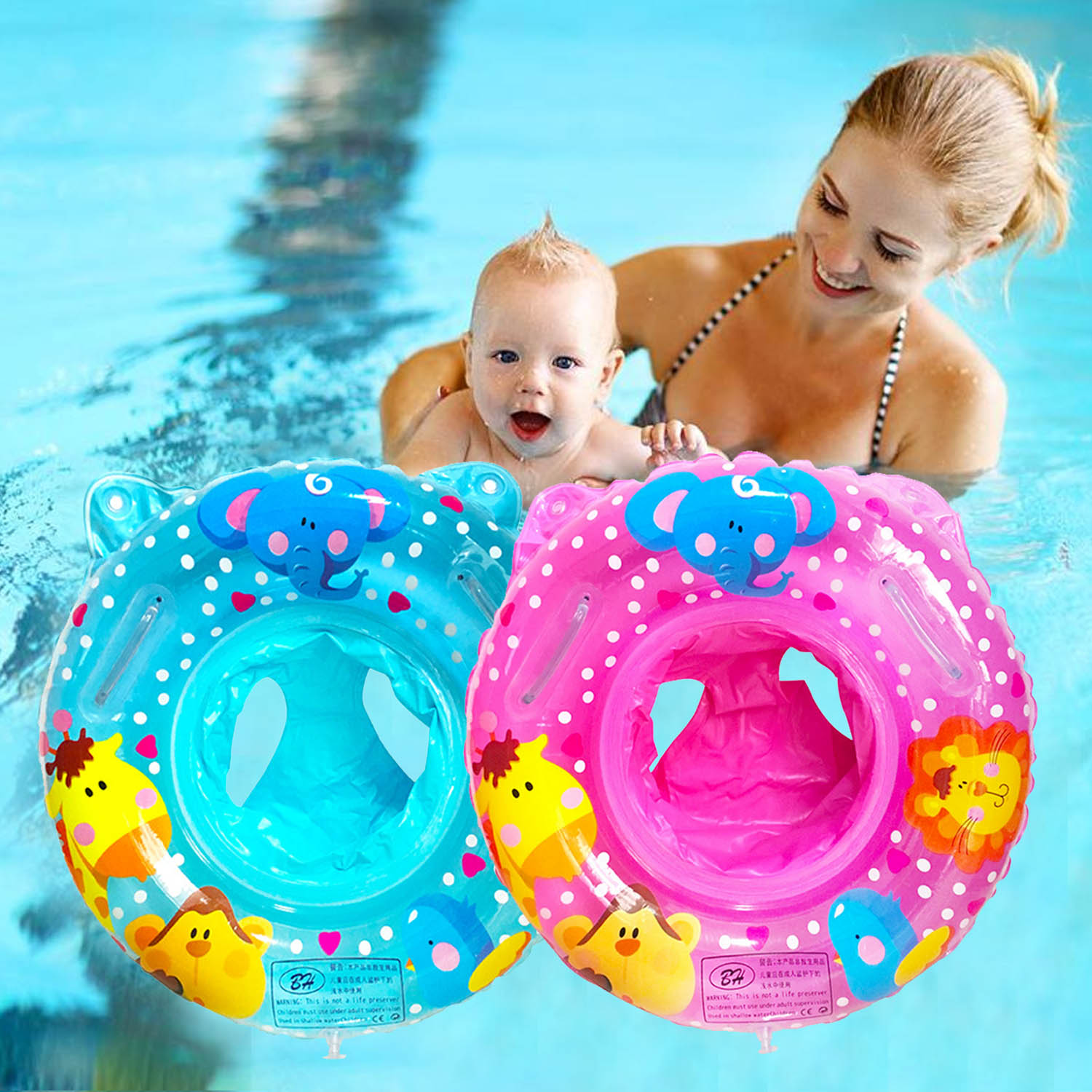 Baby Swimming Pool Rings Seat Cute Inflatable Swim Ring Float Seat Swim Circle With Dual Handle For Baby Toddlers Pool Bathtub Sale Overall Discount 50-70%