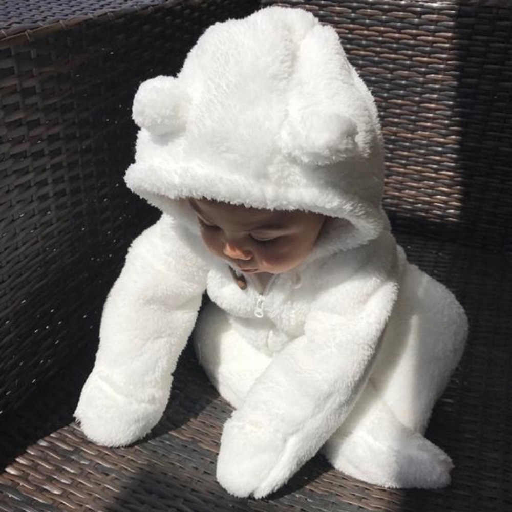 Super Warm Babykleertjes Flanel Fleece Hooded Rompertjes Pasgeboren Wrap voet Playsuit Baby Hansop 0-2 Jaar 2019 winter D30