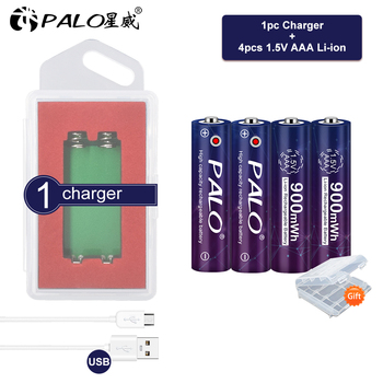 PALO 100% Original 900mWh 1.5v AAA polymer aaa lithium li-ion rechargeable batteries battery+1.5V lithium li-ion usb charger posthuman for smart watch psp led lamp rc 1 2 4x 3 7v volt li po ion lipo rechargeable batteries 602030 lithium polymer battery