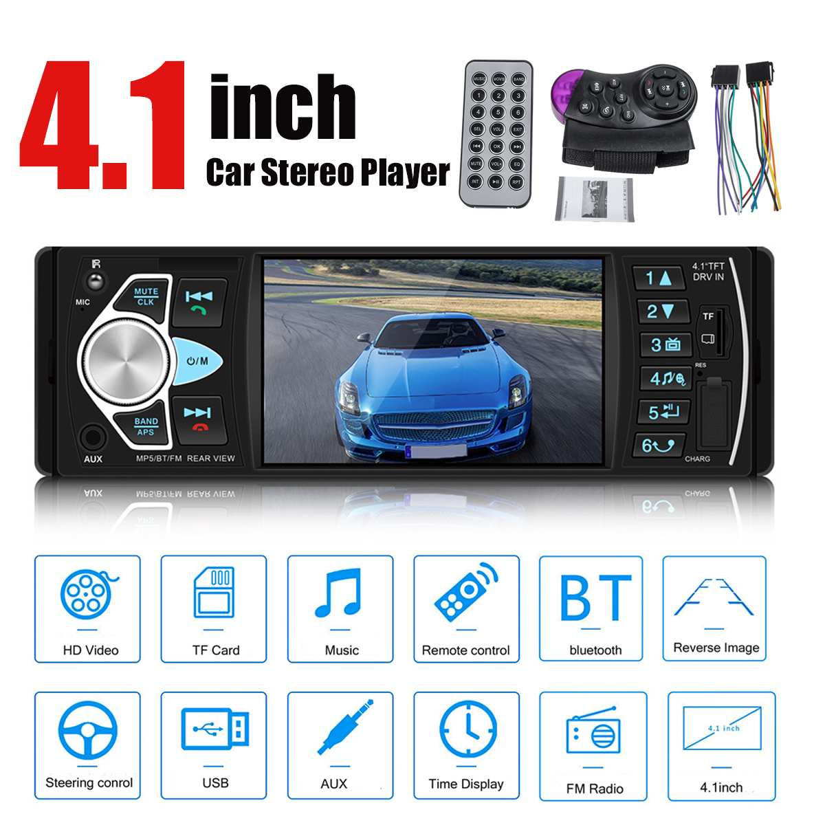 4.1 1 Din Car Radio Player Auto Audio Autoradio Stereo bluetooth MP3 MP5 Player Touch Screen FM AUX TF Steering Wheel Contral image