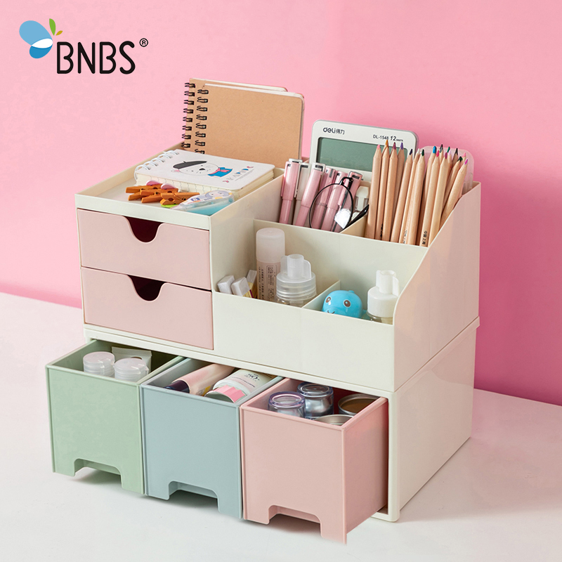 BNBS ماكياج المنظم صندوق تخزين مكتبي الحاويات لمستحضرات التجميل صندوق للمجوهرات القرطاسية البلاستيك المنظم صناديق بدرج