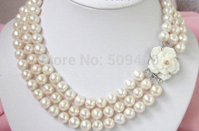 Free >Stunning 6-12mm 3Strands White Pearl Necklace cameo Clasp(China)