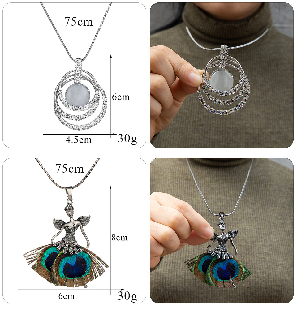 Simple Sweater Coat Necklaces Ladies Girls Long Black Leaf Natural Peacock Feather Crystal Pendant Necklaces for Women Jewelry  (113)