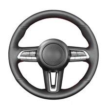 핸드 스티치 블랙 PU 인조 가죽 자동차 스티어링 휠 커버 마즈다 CX 30 CX30 2019 2020 마즈다 3 Axela 2019 2020