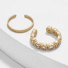 Boho Shiny Rhinestone Inlay Sunflower Alloy Ear Clip White Rhinestone Ear Bone Clip Set Women's Party Wedding Jewelry