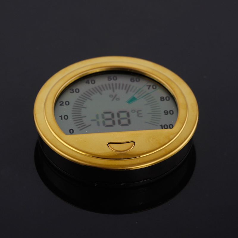 Portable Cigar Hygrometer Round Electronic Humidor Hygrometer Plastic Mini Cigar Accessories For COHIBA Cigar Box