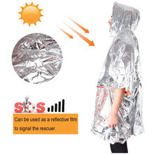 Emergency Poncho Reversible Mylar Rescue Thermal Raincoat, Waterproof Heat Reflective Survival Blanket for Camping Hiking Trave