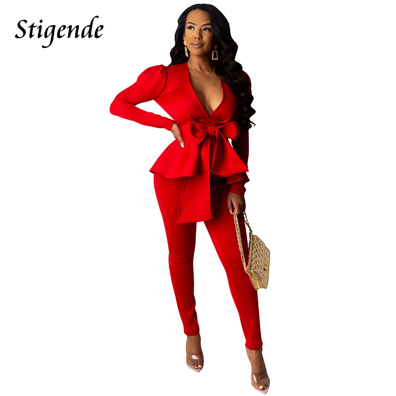 Stigende Women Elegant Suit Bandage Puff Sleeve Blazer Pencil Pants 2 Pieces Casual Set Sexy V Neck Bow Ruffle Two Piece Suit