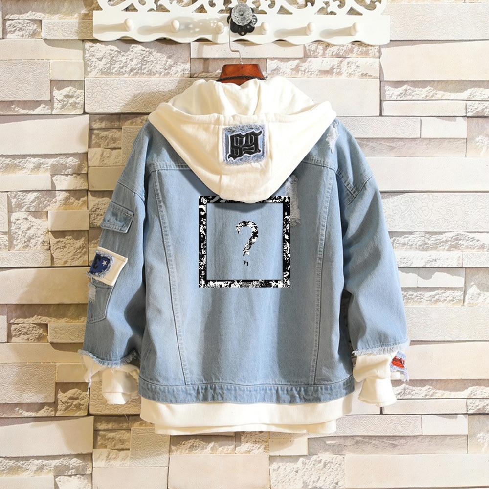 XXXtentacion Denim Jacket Sky Blue Fake Two Pieces Coat Hip Hop Harajuku XXXtentacion Hoodie Jackets Men's Streetwear Trendy Top