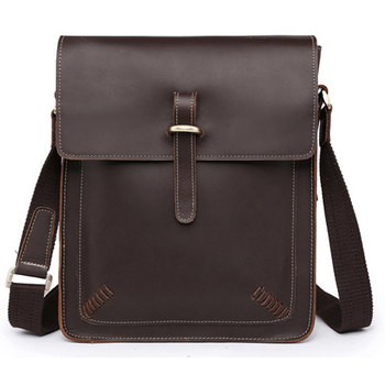 Vintage Crazy Horse Genuine Leather shoulder bag Men Crossbody Bag men Messenger Leisure Sling Brown Fashion