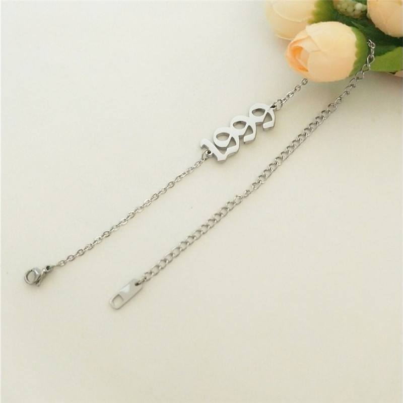 Anklet Chain For Women Custom Birthday Gift 1999 Old English Number Anklets Stainless Steel Jewelry Birth Year Enkelbanden 2