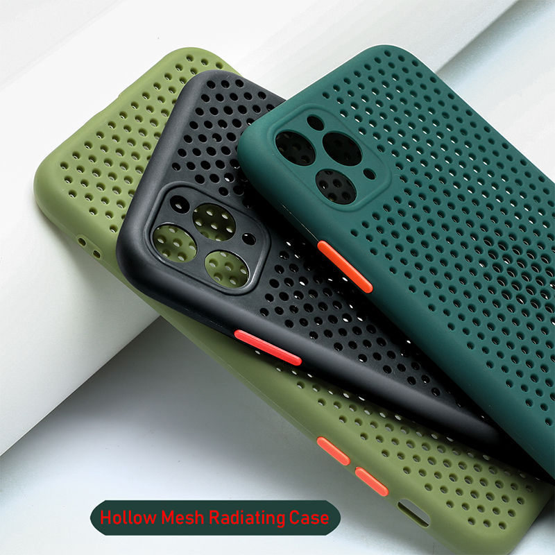 Heat Dissipation Breathable Cooling Case For iPhone 11 11Pro Max XR XS Max X 8 7 6S Plus SE 2020 11Pro Soft TPU Plain Color Case(China)