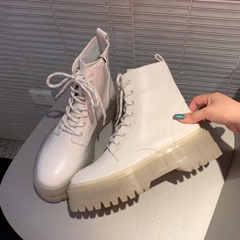 Новые осенне-зимние женские сапоги, прозрачная подошва с круглым носком, модная повседневная Красивая Короткая обувь с боковой молнией