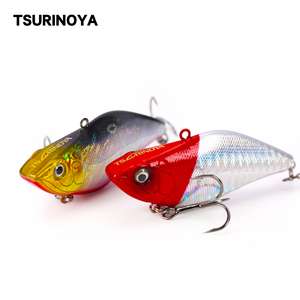 TSURINOYA Fishing Lure DW22 70mm 13.8g VIB Swing Sinking Bass Bait Black Nickel Hooks Full Swimming Layer Artificial Bait(China)