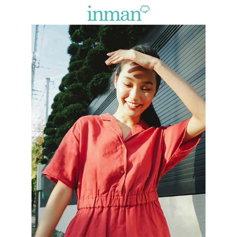 INMAN 2019 nueva llegada vestido de lino liso con cuello hacia abajo y cintura definida Línea A suelto para mujer