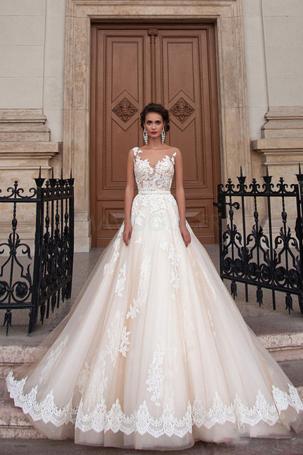 Scoop Illusion Wedding Dresses Long Lace Applique Beading Waist Sweep Train Bridal Gown Dress with Detachable Beading Sash 6