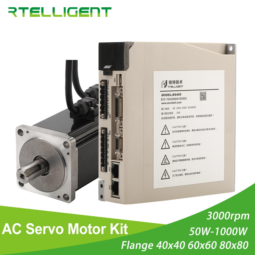 Rtelligent 2500 lead AC Servo Motor 100W 200W 400W 600W 750W 1000W Permanent Magnet Matched Driver 3000RPM Encoder resolution in AC Motor from Home Improvement