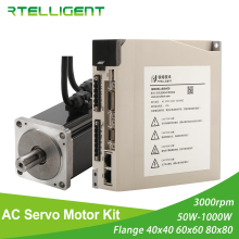 цена на Rtelligent 2500 lead AC Servo Motor 100W 200W 400W 600W 750W 1000W  Permanent Magnet Matched Driver 3000RPM Encoder resolution