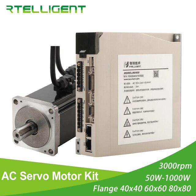 Rtelligent 2500 lead AC Servo Motor 100W 200W 400W 600W 750W 1000W  Permanent Magnet Matched Driver 3000RPM Encoder resolution