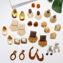 AENSOA, pendientes de gota cuadrada ovalados geométricos étnicos de madera, pendientes de declaración de resina acrílica marrón Vintage, joyería de moda 2019