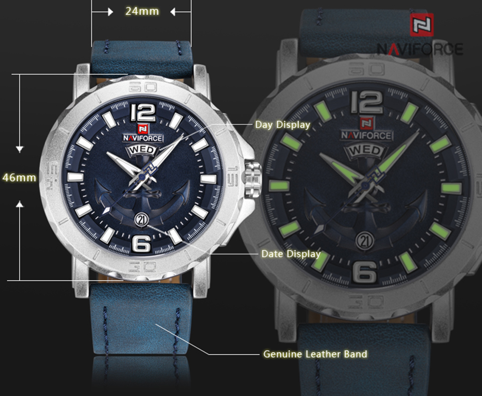 H157ddccb987848e4ae7375ff52570bc4A Top Luxury Brand NAVIFORCE Mens Sport Watches Casual Leather Strap Waterproof Military Quartz WristWatch Clock Male Reloj Hombre