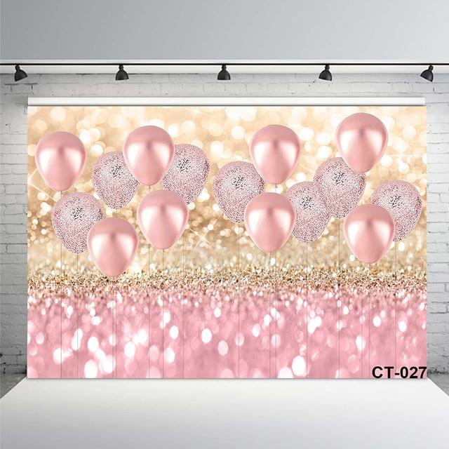 עלה זהב אספקת קישוטים למסיבת ורוד בלון גליטר Bokeh רקע תמונה יום הולדת לילדה תינוק כלה מקלחת סטודיו אבזרי